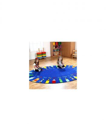 Rainbow round pencils alphabet carpet