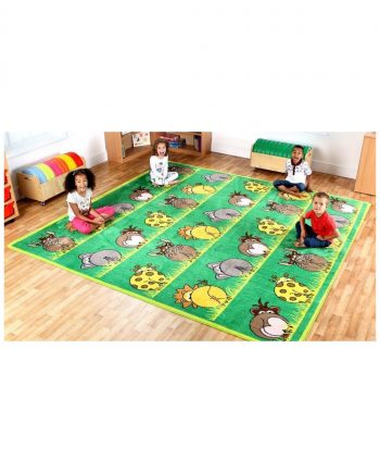 Town and country zoo animals placement carpet