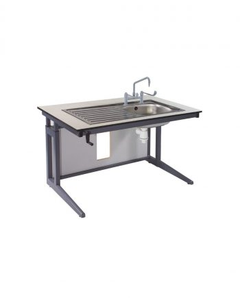 Height adjustable table with sink
