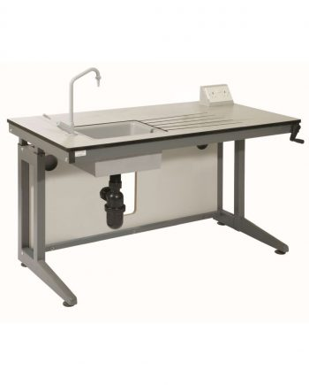Height adjustable table with sink and electric