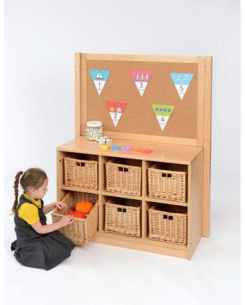 Corkboard with Basket Storage