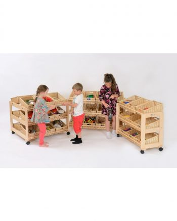 Solid Beech classroom tidies with Wicker Baskets