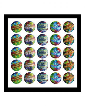 ASSORTED 100% ATTENDANCE STICKERS 28MM 125