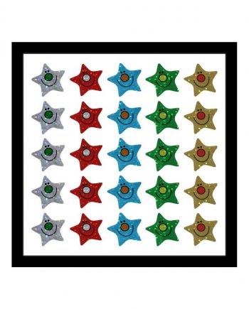 ASSORTED HAPPY STAR SHAPED SPARKLING STICKERS 28mm