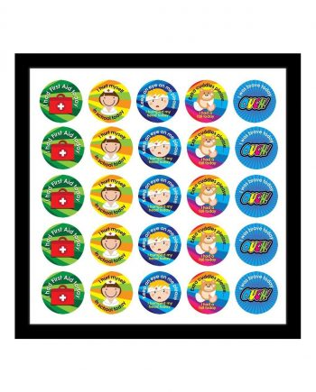ASSORTED FIRST AID STICKERS 28MM 125