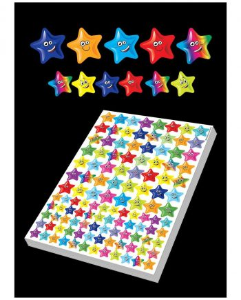 ASSORTED HAPPY STAR SHAPED STICKERS 25MM AND 10MM 1160