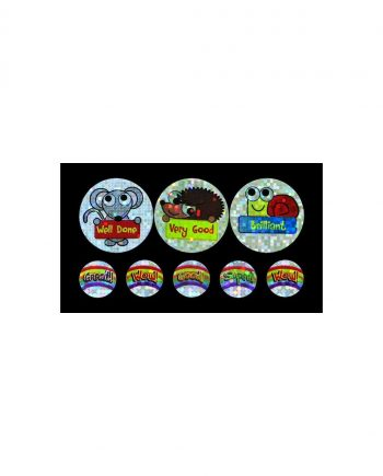 ASSORTED BUG PRAISE SPARKLING STICKERS 25MM AND 10MM 1310