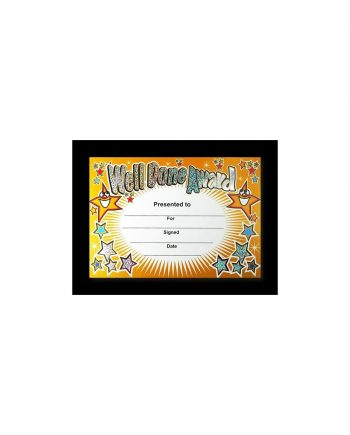 SPARKLING WELL DONE AWARD CERTIFICATE A5