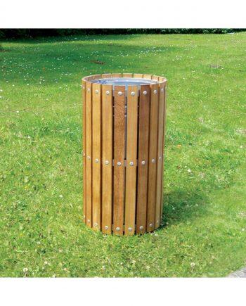 Circular Timber Slatted Bin