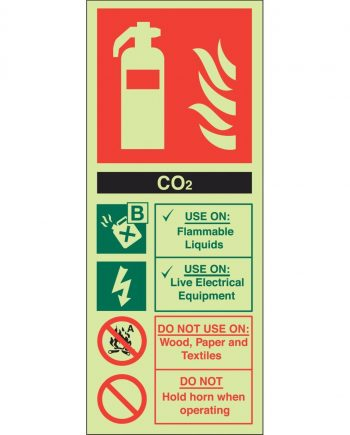 CO2 FIRE EXTINGUISHER PHOTOLUMINESCENT