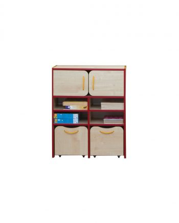 Nature tall storage unit red edging