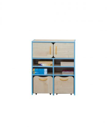 Nature tall storage unit blue edging
