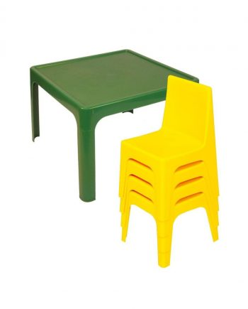 Coloured resin table and chair set