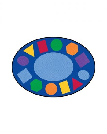 Geometric oval learning rug