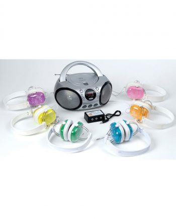 Cd/Radio With Six Cav-213V Coloured Headphones With Volume Control Plus 6-Way Junction Box