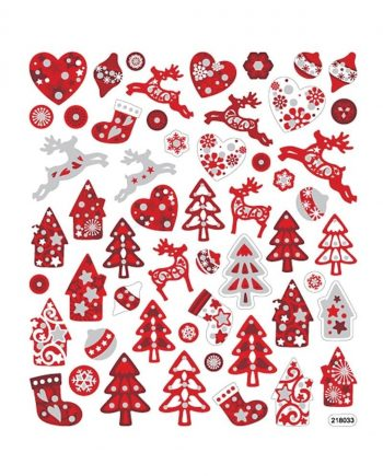 Fancy Glitter Stickers, Red/White Christmas