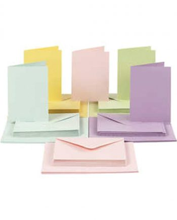 Double Blank A6 Cards & Envelopes Assorted Pastel