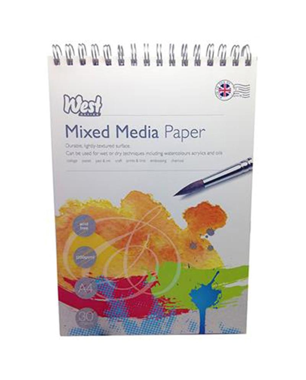 A4 Mixed Media Sketch Pad 250gsm 30 Sheets - Spiral Bound