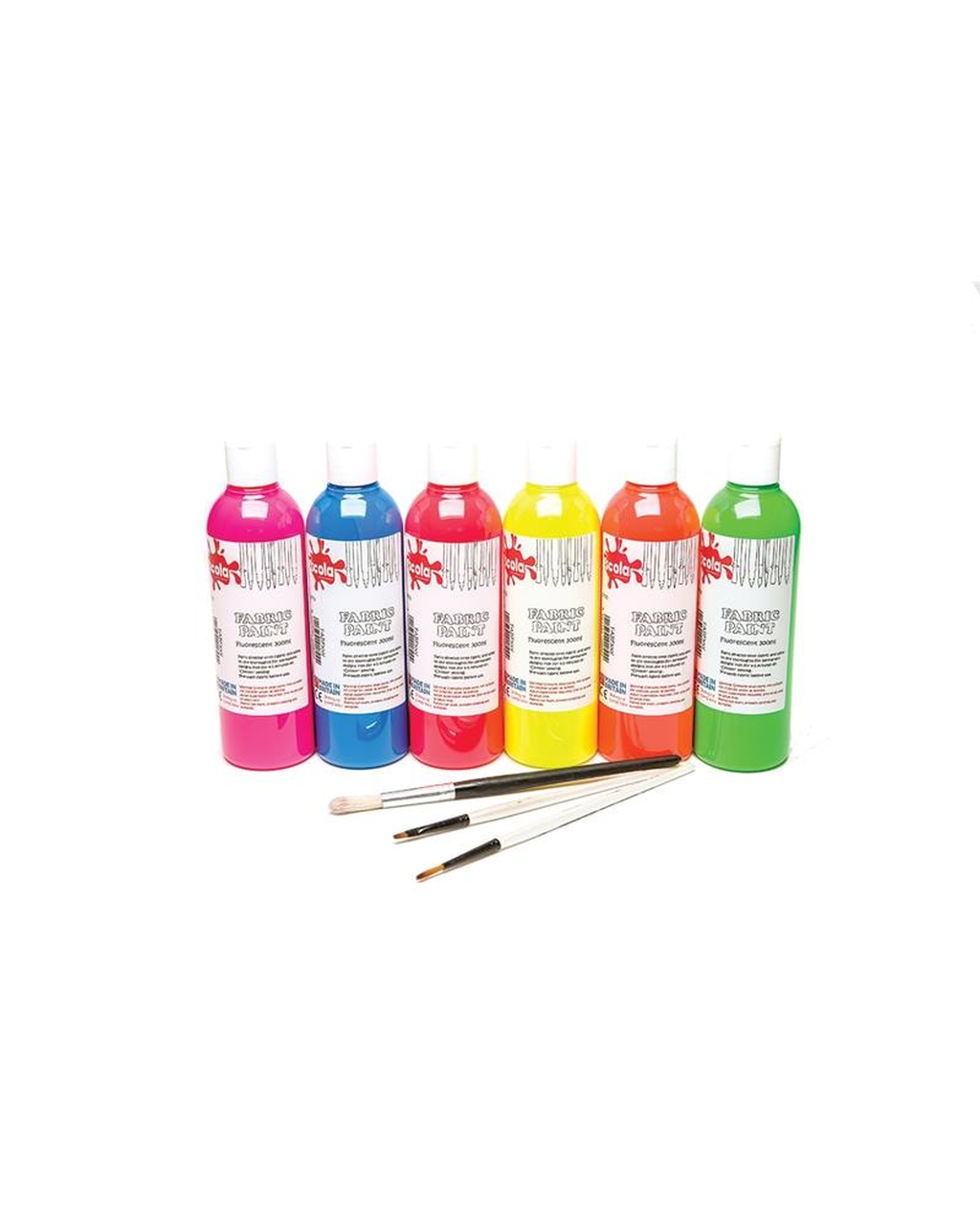 Fluoro Assorted Colours 300ml Fabric Paint