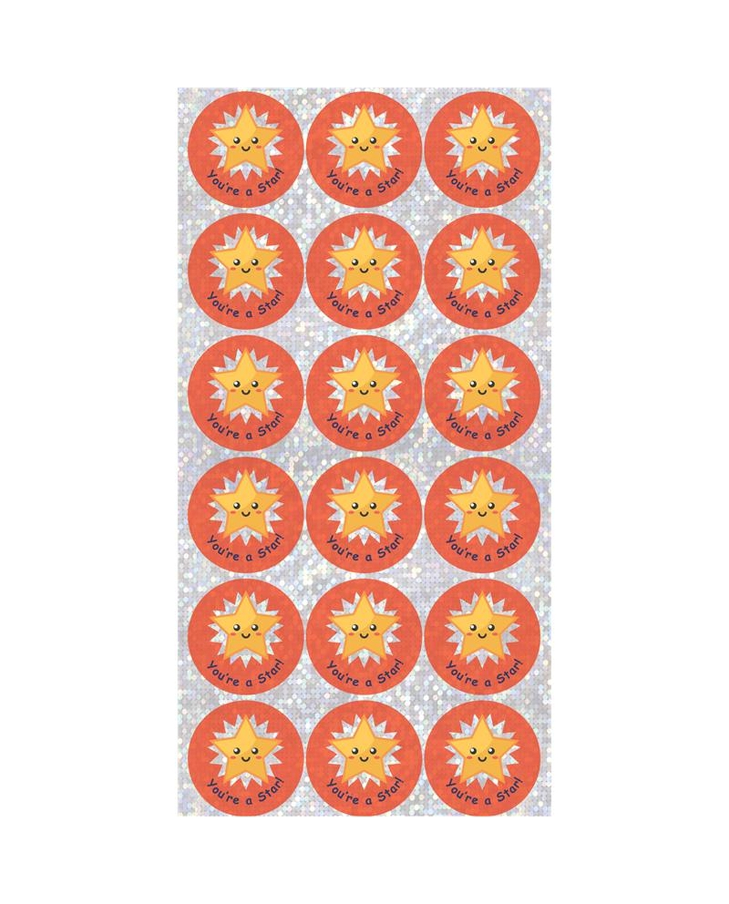 28mm Sparkly Stickers. Gold Star - Super Star. 72 Stickers