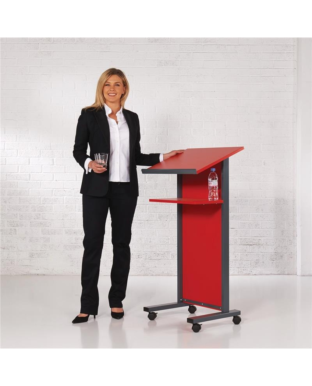 Coloured Panel Front Lectern Red