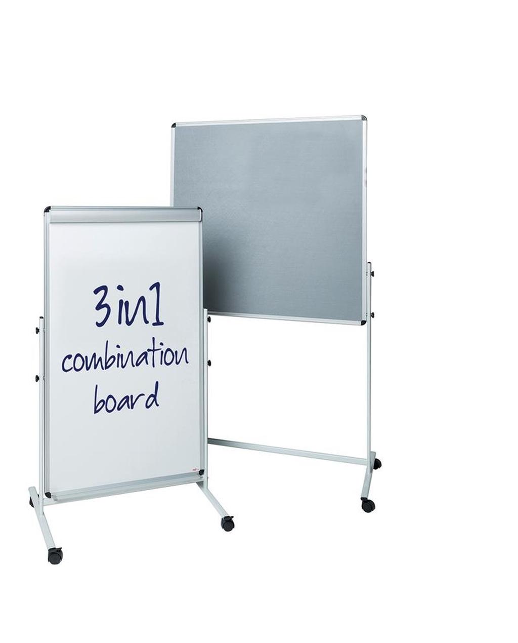 Combi Mobile Noticeboard 1000 X 1000 Grey