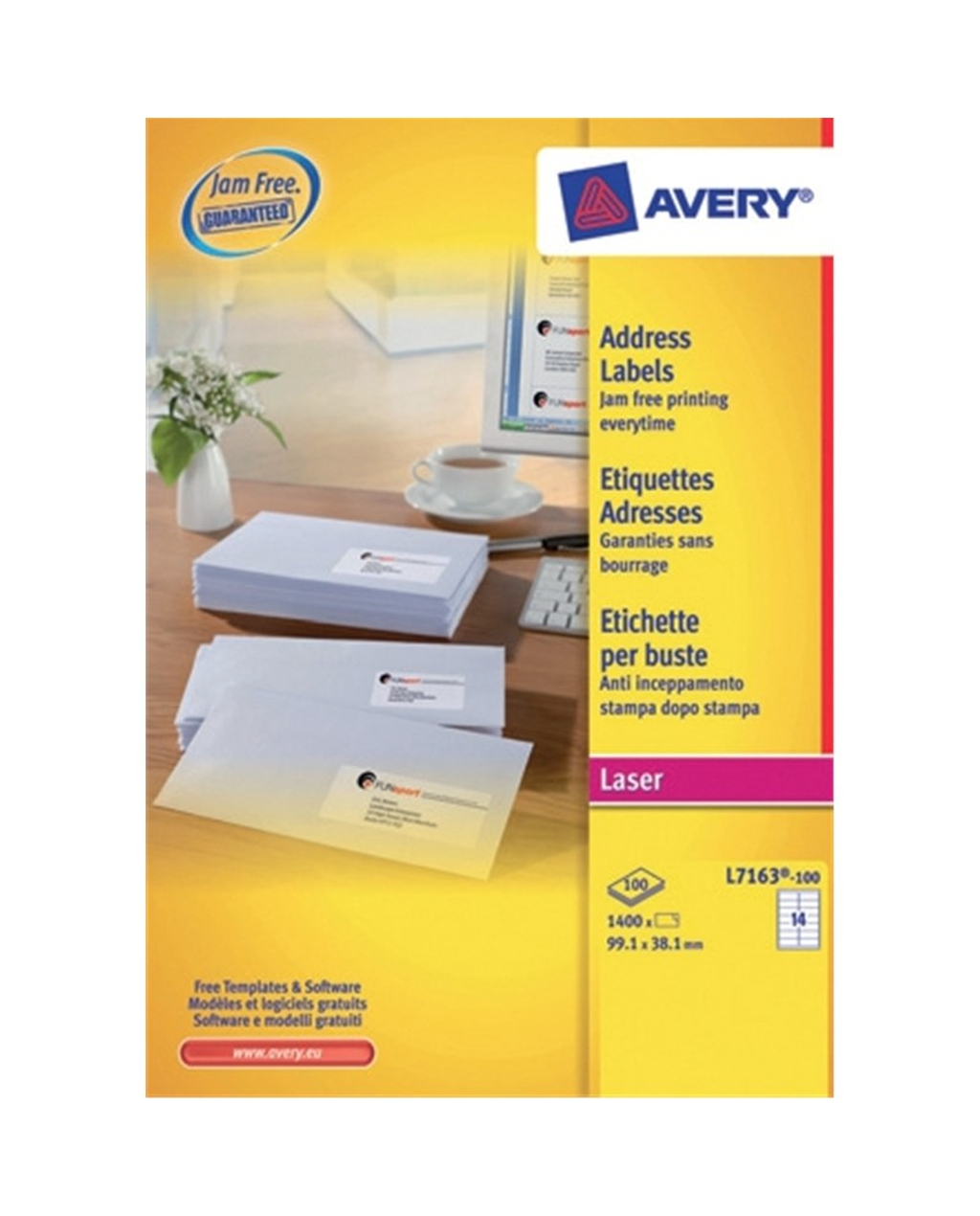 Avery Laser Labels - Jam-Free L7165,  99.1 x 67.7mm