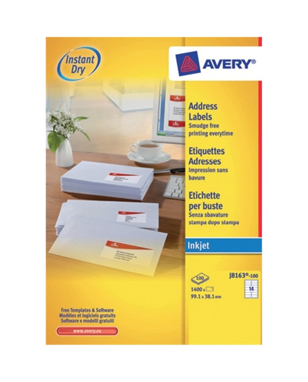 Avery Inkjet Labels - J8163, 99.1 x 38.1mm