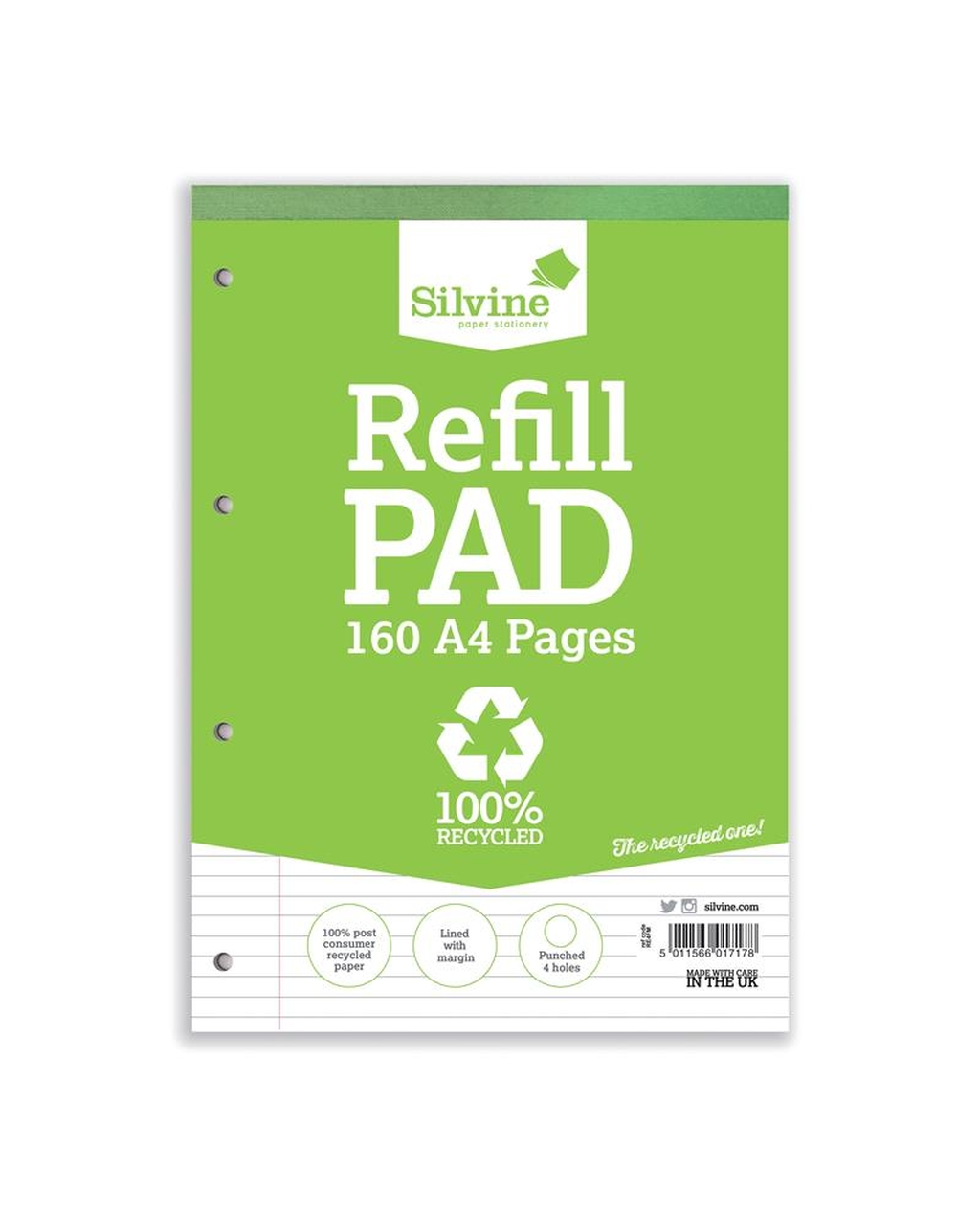 A4 8mm Punched Recycled Pad, 80 Leaf