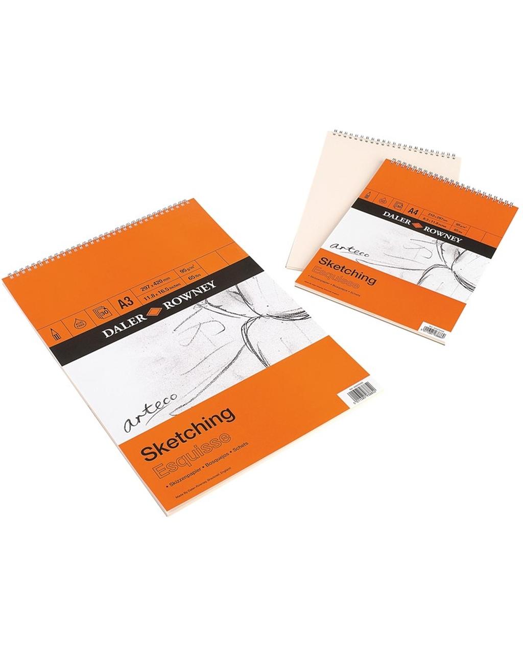A4 Daler-Rowney Spiral Sketch Pads,30 Sheets,95g