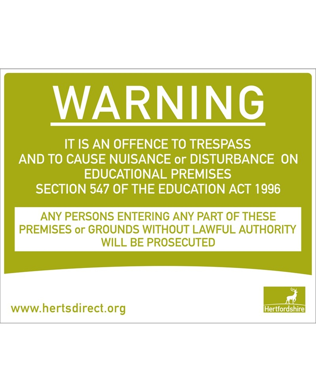 Herts Logo Plastic Warning Trespass Sign
