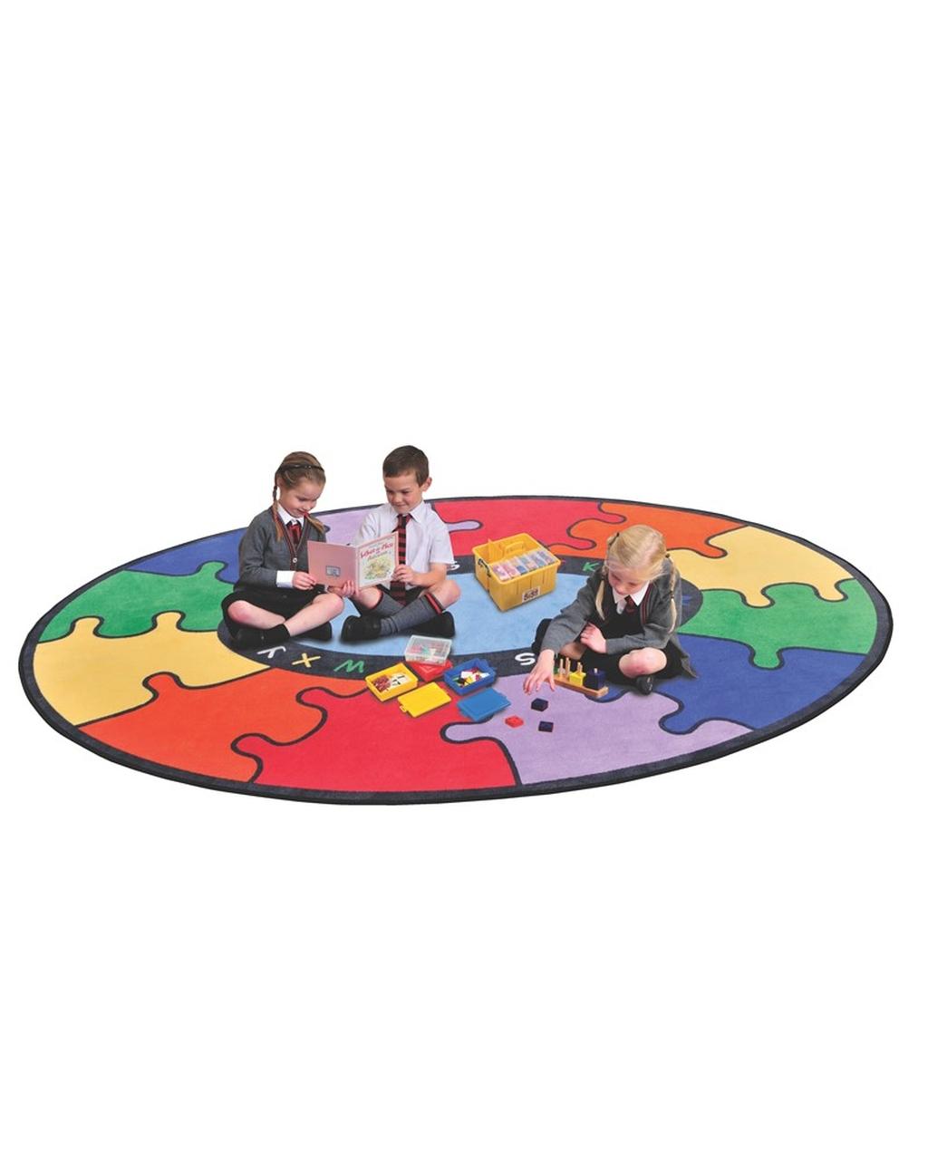 ABC Rainbow Puzzle Cut Pile Rug - Round