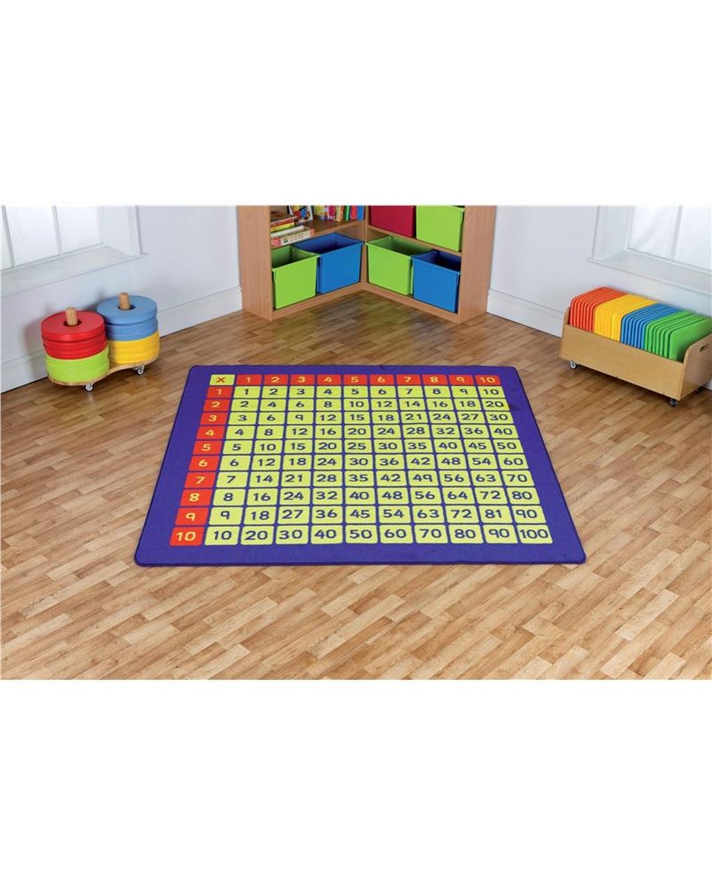 100 Square Multiplication Grid Carpet
