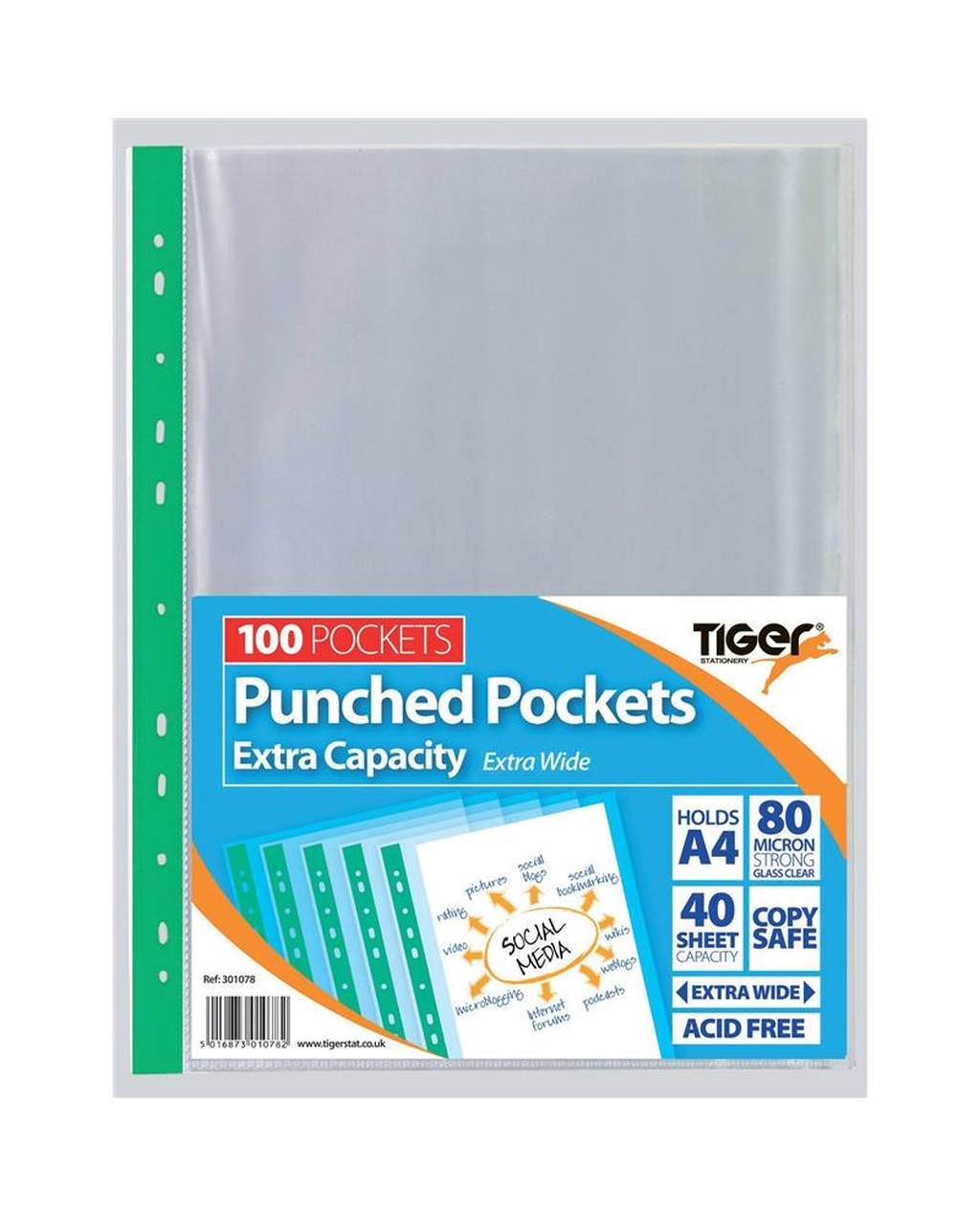 A4 Extra Capacity Punched Pockets
