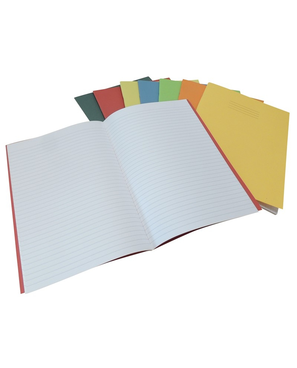 9 x 7 inch 64-Page Red 225gsm Manilla Cover Exercise Books, 8mm Ruled & Margin