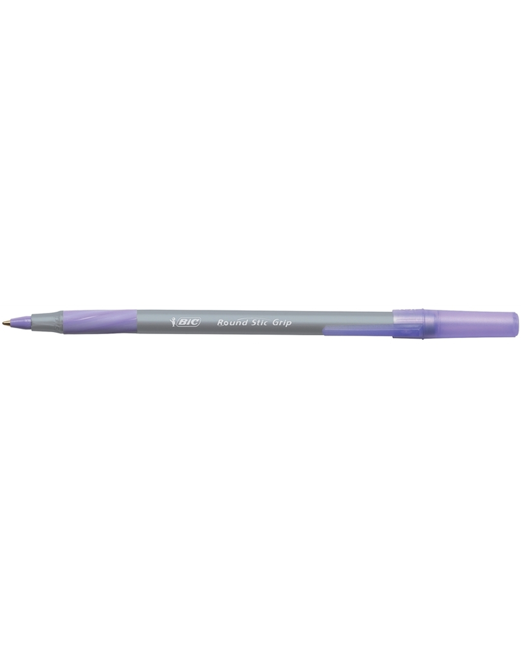 BIC Round Stic Grip Ballpoint Pen Purple Ink