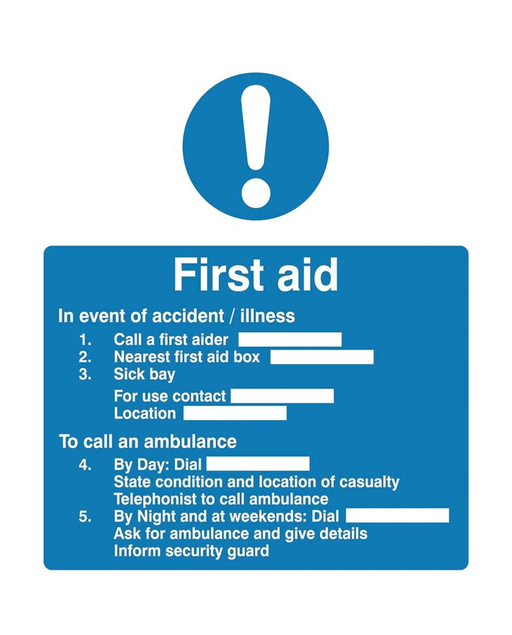 First Aid Instructions Sign