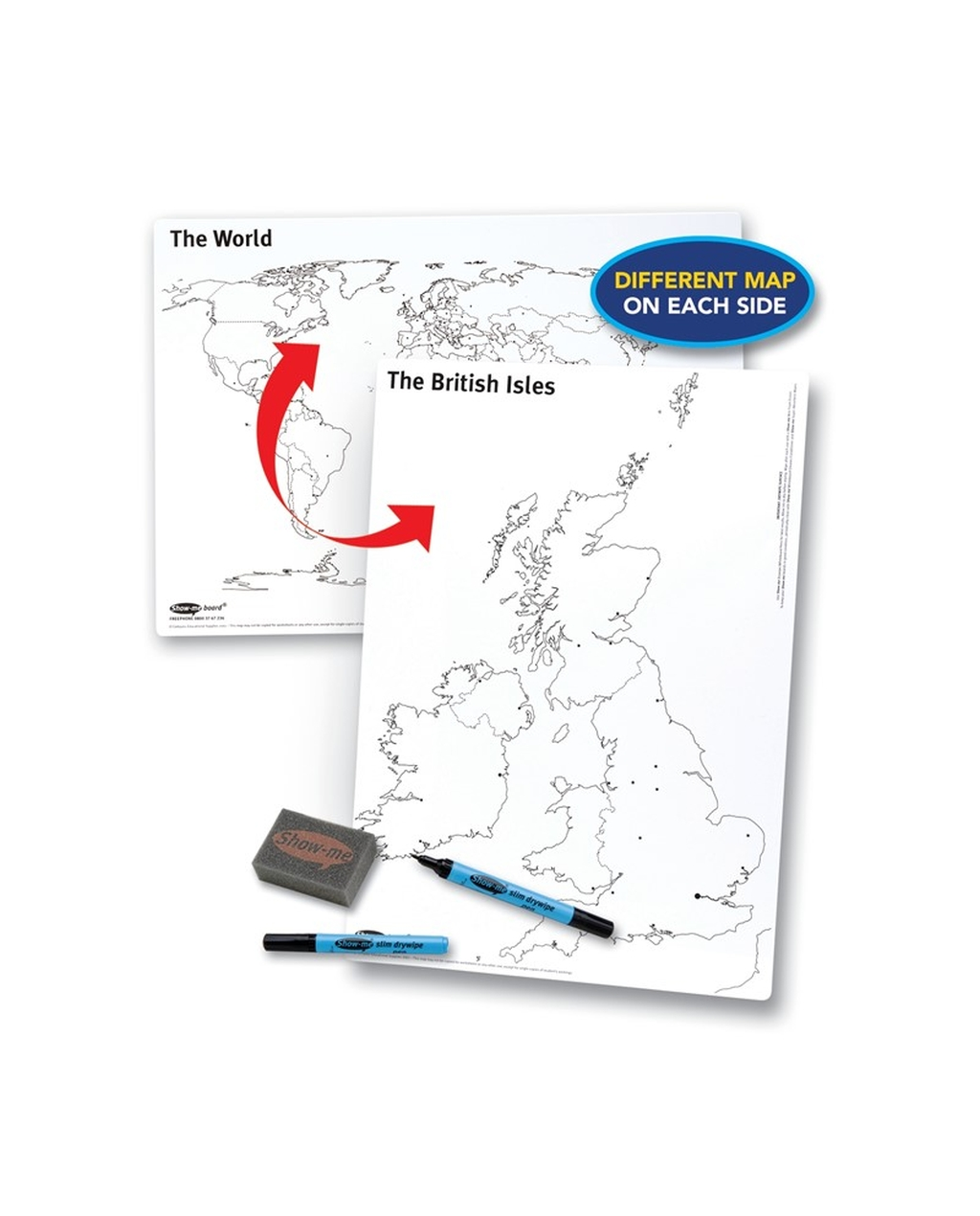 Show-me A3 UK/World Whiteboards