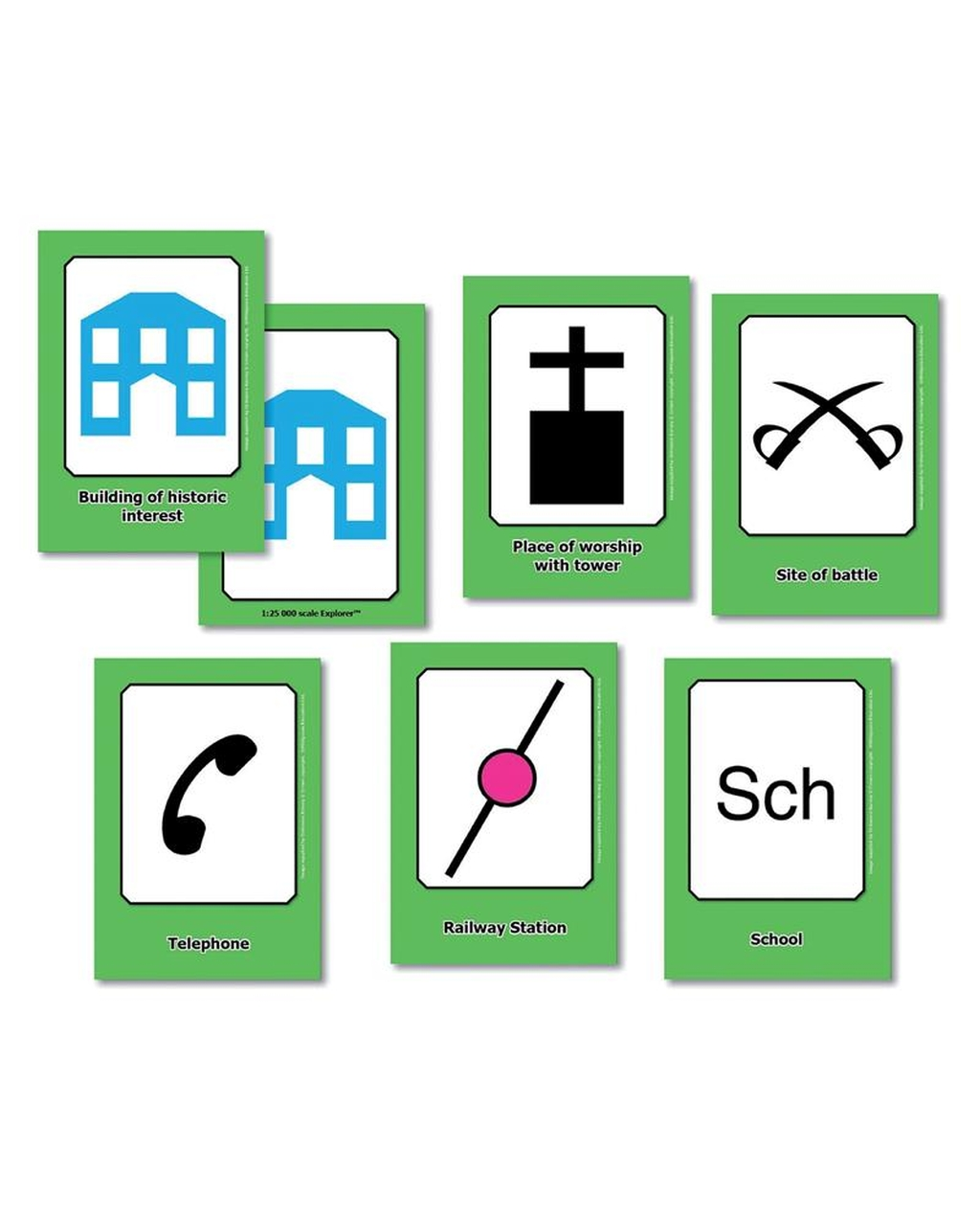 OS Map Symbols Flash Cards