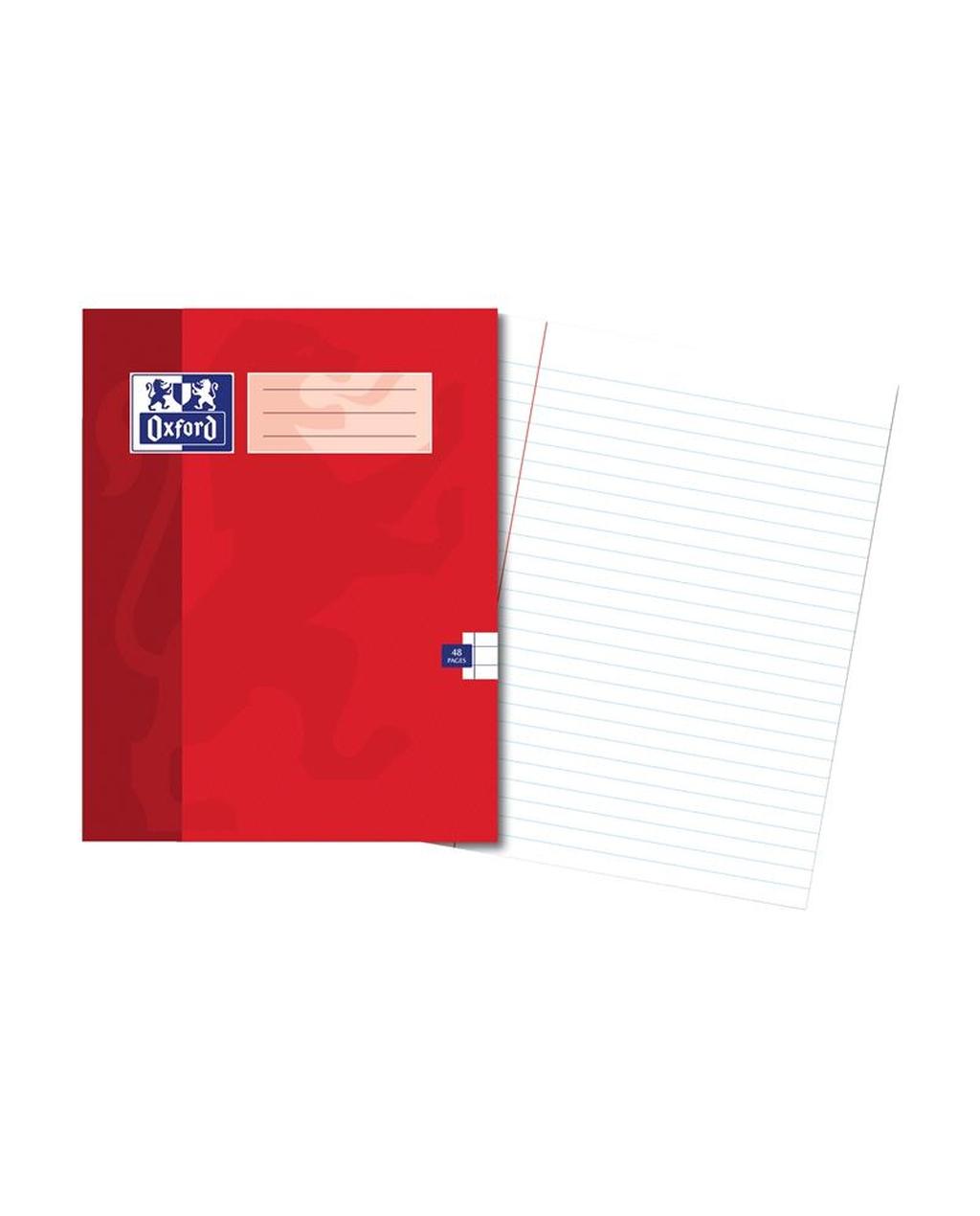 220x170 Oxford Ex Bk 48Pg 8Mm Mar Red