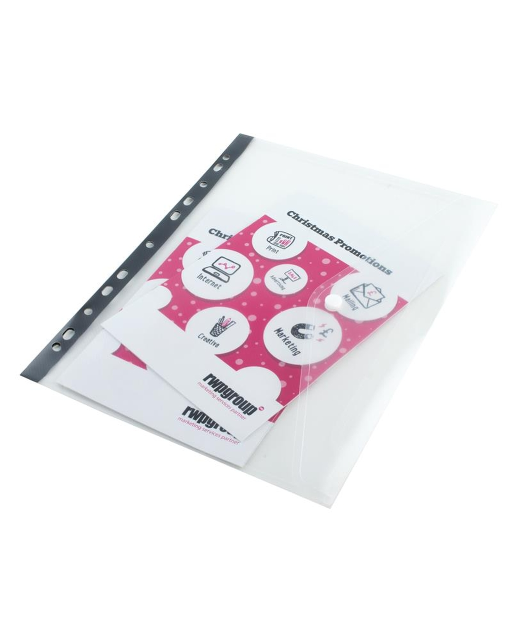 A4 Clear Ring Binder Popper Wallet
