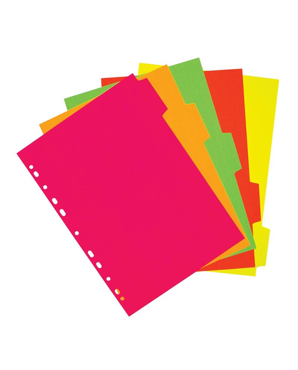 A4 5 Part Neon Fluorescent Subject Dividers