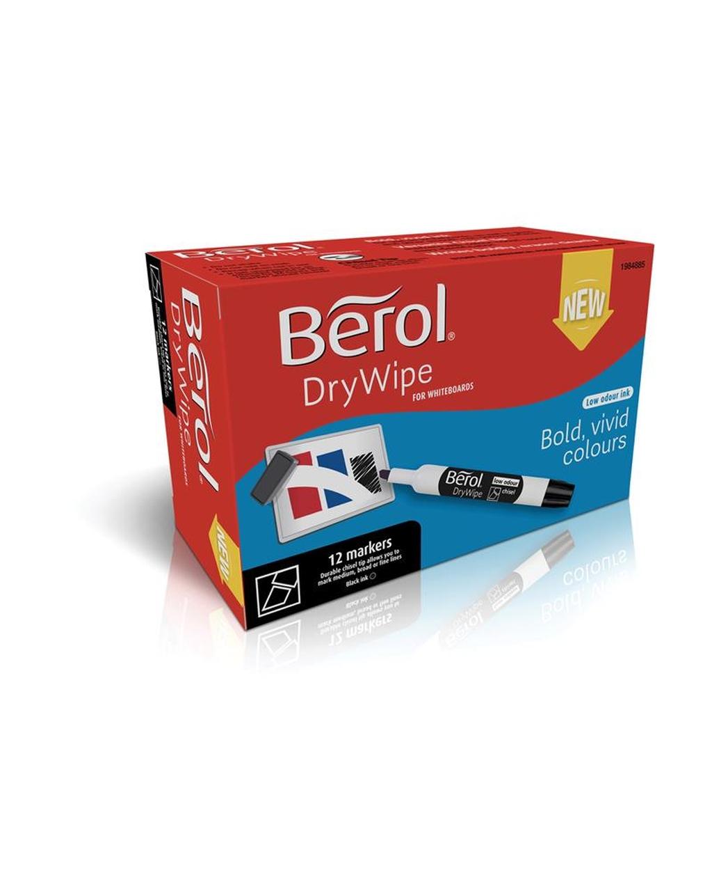 Berol Drywipe Marker Chisel Tip - Black