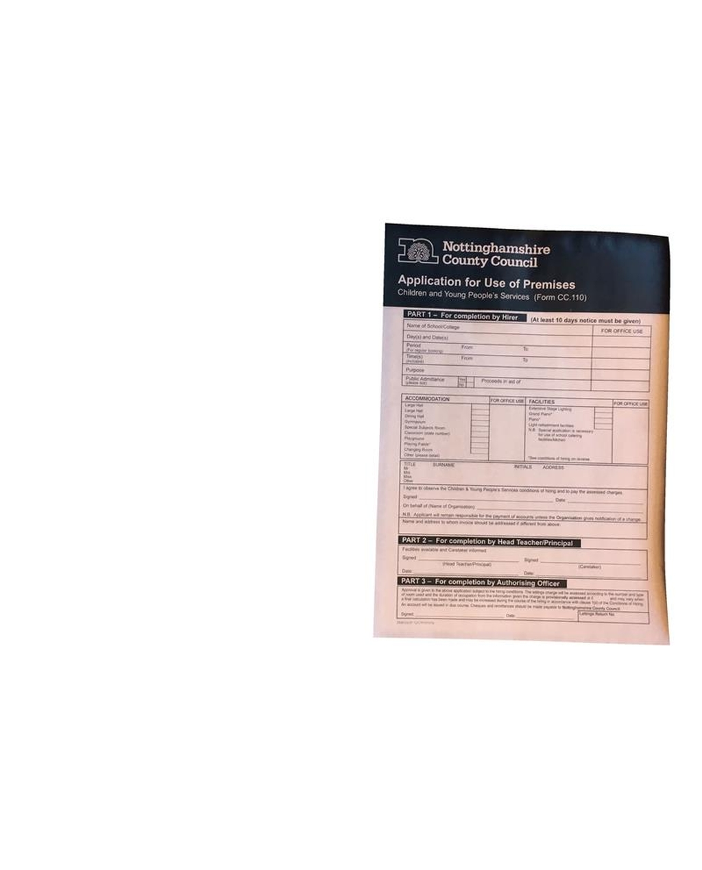 Form for use of premises cc.110 PK 150