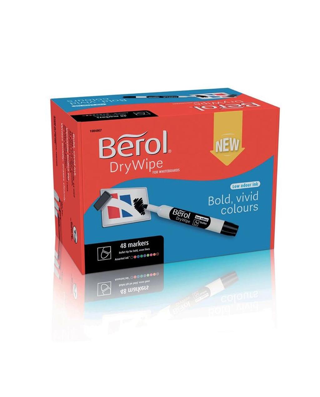 Berol Chisel Drywipe Marker - Assorted PK48